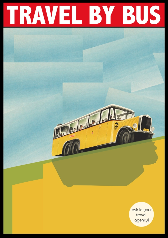Travel by bus póster