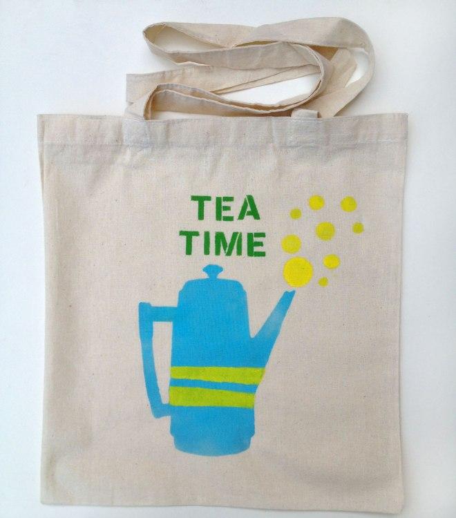 Bolsa Tea Time estampada a mano