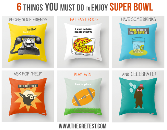 decorative pillows to enjoy super bowl