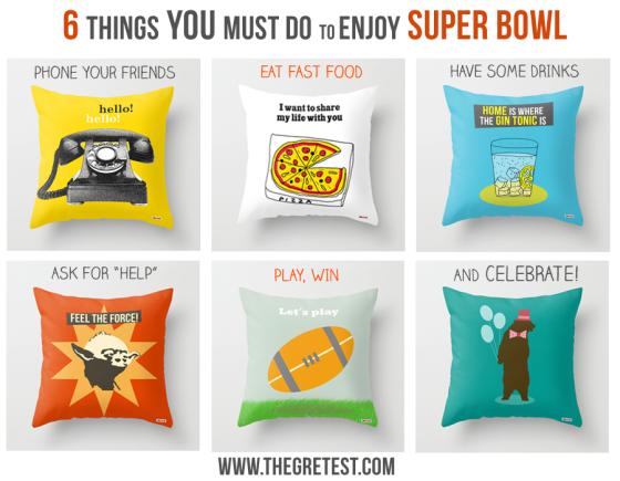 decorative pillows to enjoy super bowl